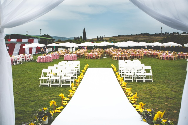 חתונת קונספט - יריד אמריקאי - עיצוב הפארק - מבט מתוך החופה